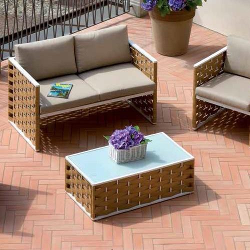 Set salotto bellaria divano 2 poltrone tavolino cuscini rattan sitetico paglia set 06 - Set divano rattan ...