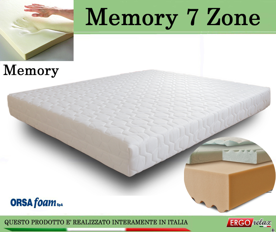 Materasso Memory Mod. 7 Zone 90x190 Zone Differenziate Anallergico Sfoderabile - Ergorelax