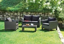Set divanetto giardino SPALATO divano + 2 poltrone + tavolino cuscini rattan sintetico moro SET81