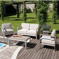 Set Giardino Coffee SET LEVANTO divano 2 poltrone tavolino cuscini alluminio resin wood finto legno SET11