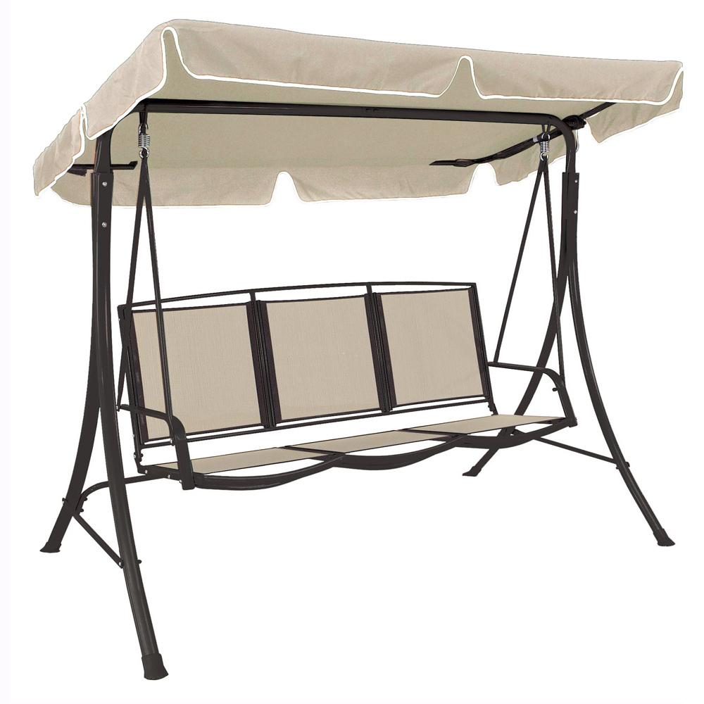 Dondolo 3 posti marrone ecr con seduta textilene - Dondolo da giardino usato ...