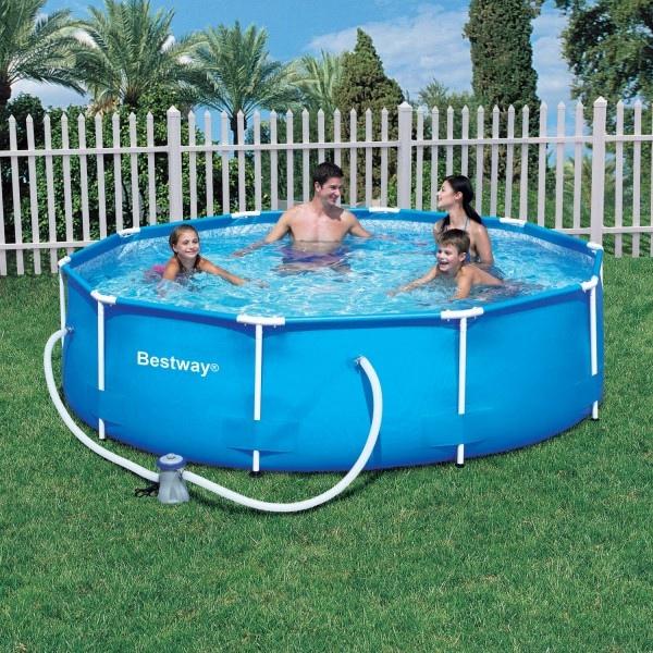 Piscina bestway steel pro frame circolare 56260 diam 366 x 100 for Cubre piscina bestway