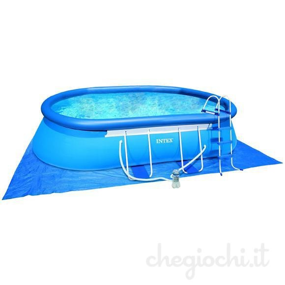 Piscina ovale autoportante intex 54432 cm 549x305x107 con for Intex accessori