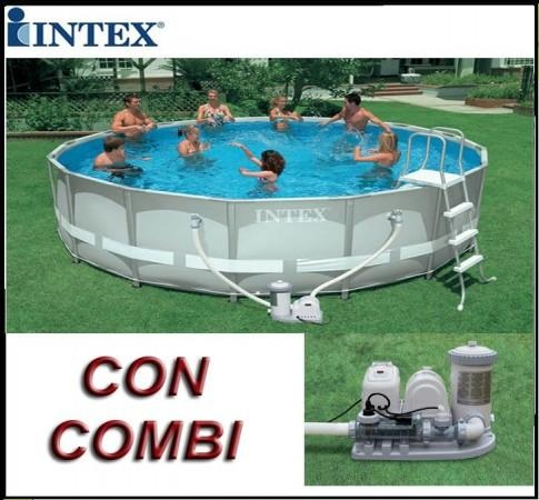 Piscina ultra frame rotonda 488x122 intex 54470 con for Piscina intex rotonda