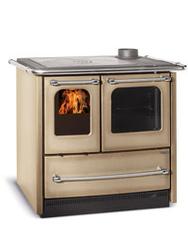 Stufa a cucina a legna La Nordica Extrafolame SOVRANA EASY colore CAPPUCCINO 6,5 kw in acciaio porcellanato