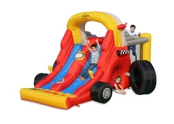Gioco Gonfiabile per bambini Happy Hop FORMULA 1 art 9026 Stupendo Gonfiabile con Mega Scivoli Salterello Tunnel e Arrampicata e doppio scivolo