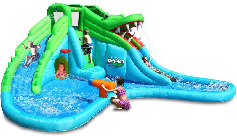 Scivolo Gonfiabile Happy Air Mr Coccodrillo art 9517 con 2 scivoli arrampicata piscina