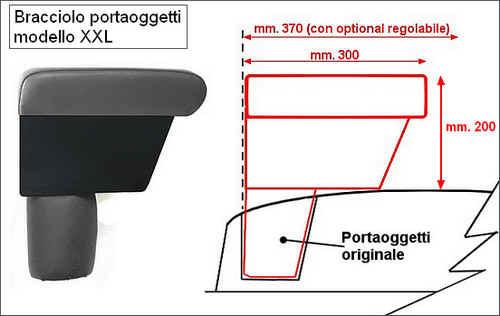Bracciolo mod. XXL regolabile con portaoggetti per Fiat 500 L (2012-05/2017) e 500 L Trekking