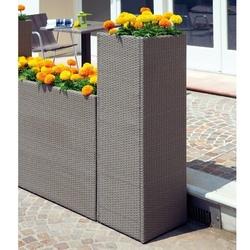 Fioriera verticale 40x40xH120 cm portavaso wicker rattan sintetico avana PLW02
