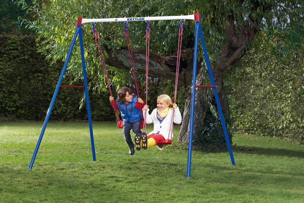 Altalena basic 2 da giardino per bambini in metallo doppia con due seggiolini a tavoletta - Altalena da giardino per bambini ...