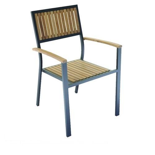 Sedia da giardino ibiza in legno di teak e alluminio for Sedie da giardino in legno
