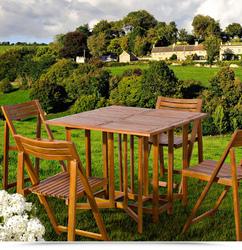 Set Legno acacia salvaspazio chiudibile FOLDIES SET5 tavolo e 4 sedie pieghevoli