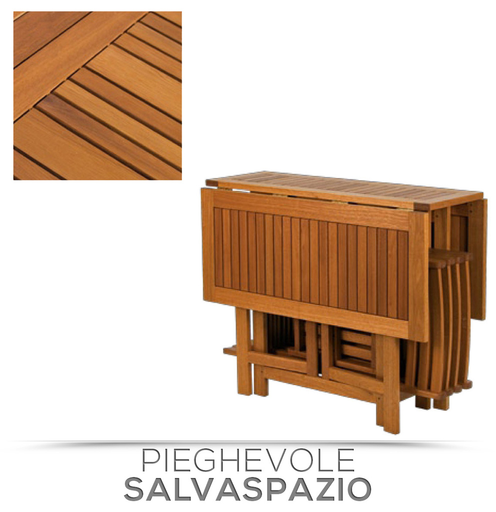 Set legno acacia salvaspazio chiudibile foldies set5 tavolo e 4 sedie pieghevoli for Tavolo in legno pieghevole