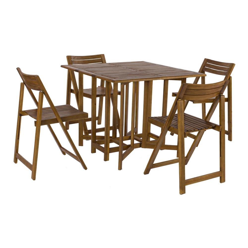 Set legno acacia salvaspazio chiudibile foldies set5 for Tavolo e sedie pieghevoli