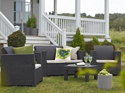 Set Salotto divano 2 poltrone tavolino ELISA da giardino Resina Polirattan Keter COLORADO Colore Antracite Con cuscini scuri sfoderabili