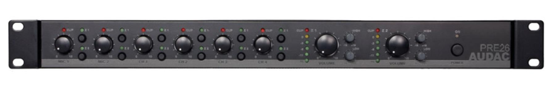 Audac PRE26 - Mixer rack 6 ingressi, 2 zone output