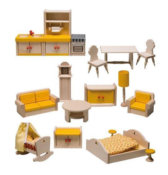 Set di mobili per casa delle bambole in legno con balcone for Mobili casa