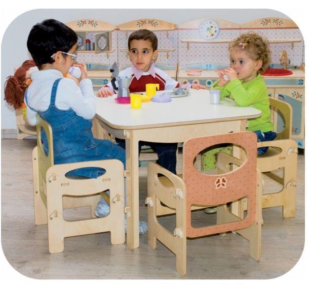 Tavolo Quadrato Azzurro Pastello Per Bambini In Legno