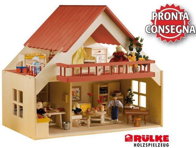 Casa delle bambole in legno con balcone di rulke holzspielzeug for Acconto per costruire una casa
