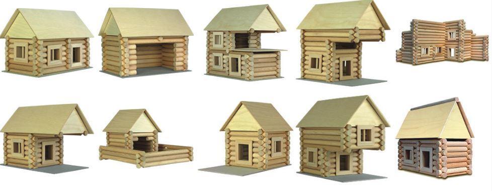 Costruzioni in legno naturale per bambini kit da 184 pezzi for Costruzioni in legno