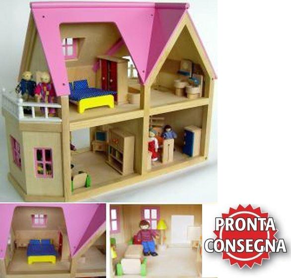 Casa delle bambole completa di accessori in legno estia for Costruisci tu stesso piani di casa