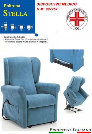 Poltrona Relax Stella completa di Alzapersona e Kit Roller 2 Motori Tessuto Lavabile Colore Blu Sfoderabile Consegna 48 Ore PREZZO IVA AGEVOLATA 4%