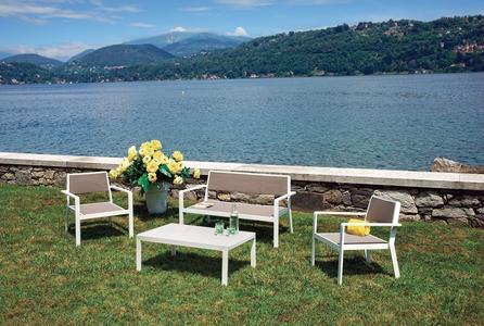 Salotto SET PARAGGI divano + 2 poltrone + tavolino struttura alluminio SET30