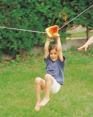 Funicolare per bambini con carrucola in legno e cavo in acciaio da 15 m