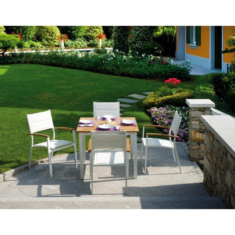tavolo da esterno con struttura in alluminio e piano in legno teak ... - Tavolo Da Giardino In Legno Teak