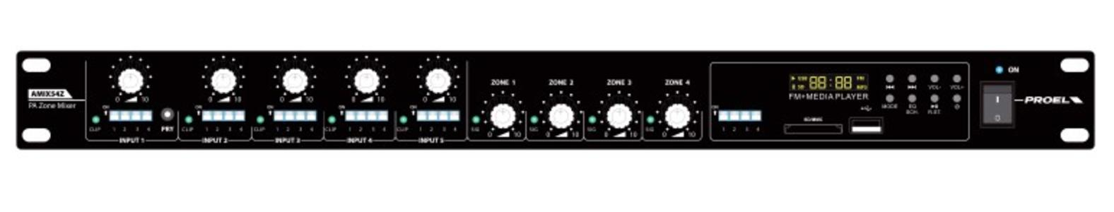 Proel AMIX54Z - mixer rack line/mic con radio e usb