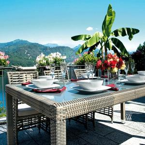 Tavolo da giardino fisso 210 x 110 MATERA rattan wicker sintetico ...