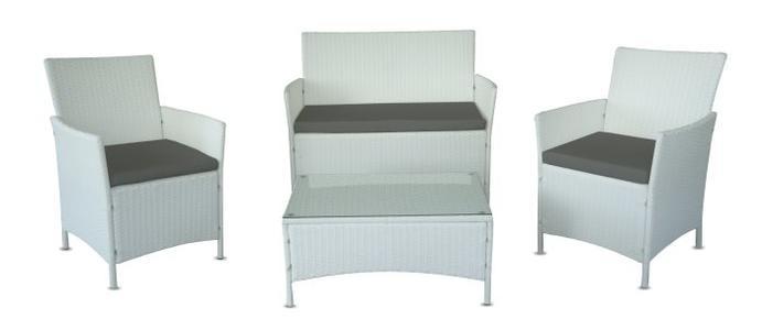 Salotto da Giardino mod. NADIA in Polyrattan colore Bianco Set 4Pz
