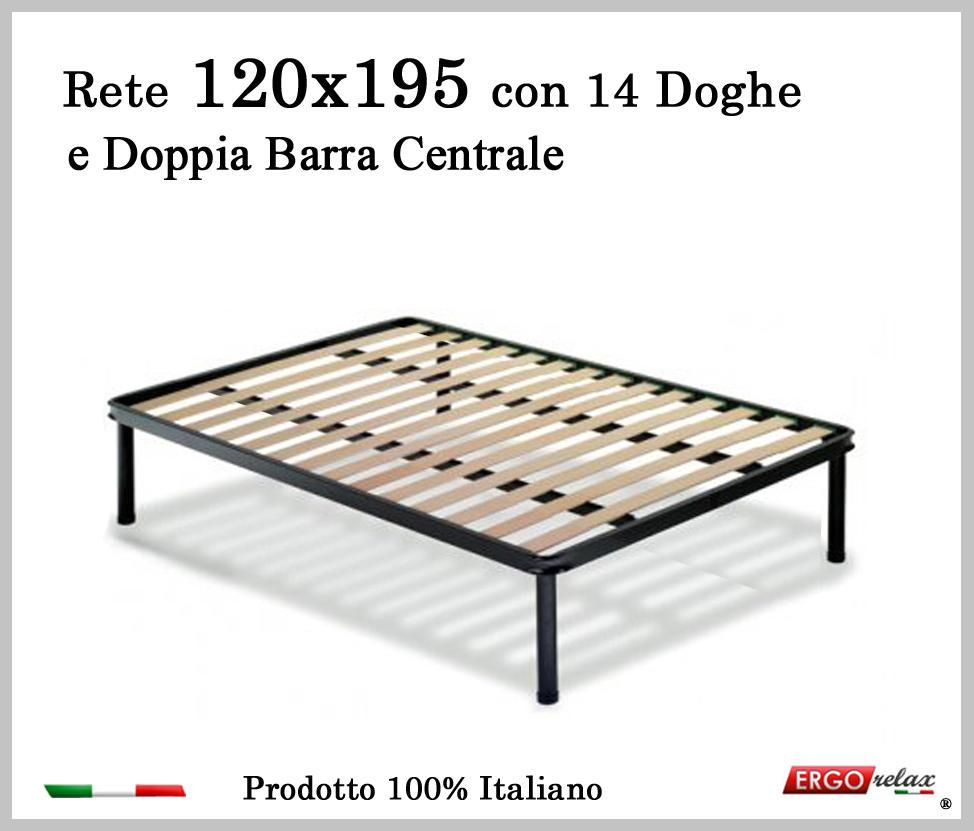 Rete per materasso a 14 doghe in faggio VIENNA 120x195 con Doppia Barra Centrale cm. 100% Made ...