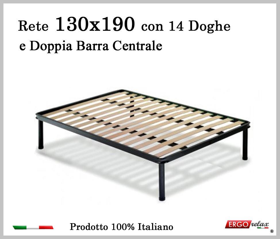 Rete per materasso a 14 doghe in faggio VIENNA 130x190 con Doppia Barra Centrale cm. 100% Made ...