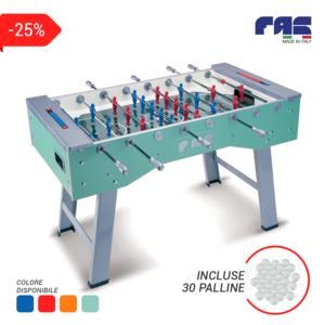 calciobalilla SMART con aste RIENTRANTI e gambe pieghevoli + 30 palline incluse, colori: rosso, blu, arancione, turchese - FAS