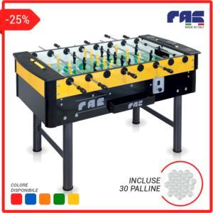 calciobalilla MUNDIAL aste RIENTRANTI con gettoniera, colori: blu, rosso, arancione, verde, giallo + 30 palline incluse - FAS