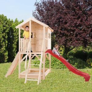 Casetta in legno con scivolo per bambini prefabbricata gioco giardino ALIDA 257 x 382 cm