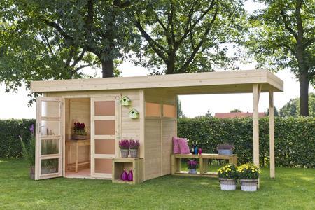 Casetta da giardino modello VERMONT CON PORTICATO ricovero attrezzi in legno a pannelli 603 x 245 cm