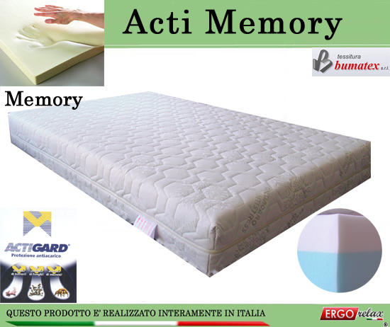 Materasso Memory Mod. Acti Memory Singolo da Cm 80x190/195/200 Antiacaro Antistress Sfoderabile ...