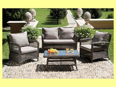Set Divanetto giardino PALAU divano + 2 poltrone + tavolino cuscini rattan sintetico tortora SET99