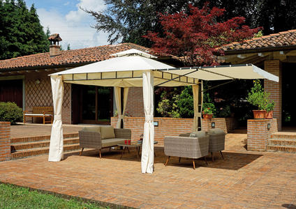 GAZEBO quadrato 3×3 mt estensibile fino a 5×3 mt in ferro epoxy antracite con tende GAZ 364