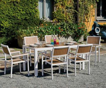 TAVOLO da giardino CERVINIA 160 x 86 cm resin wood color noce struttura in alluminio avorio RTE 55