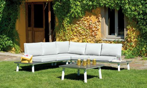 Salottino da giardino angolare in alluminio CORNER SET RAPALLO con 2 panche 1 angolare tavolino  SET 26