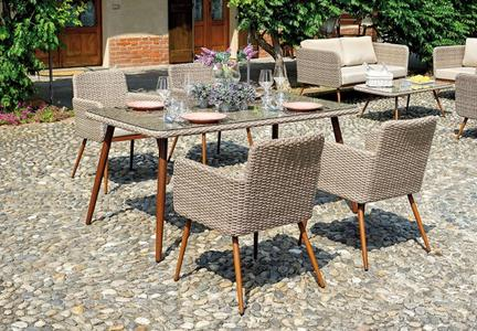 Set da giardino per pranzare DINING SET SALAMANCA DS 03 in wicker paglia