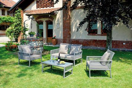Salottino da giardino COFFEE SET VILLASIMIUS con 2 poltrone  1 divano  tavolino  SET 68