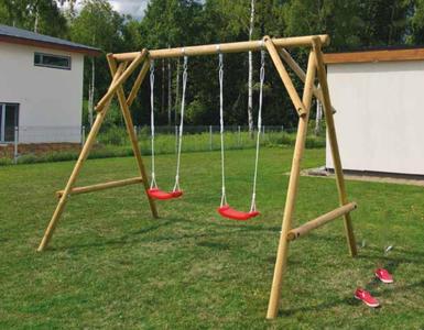 Altalena doppia per bambini in legno MATTIA cm 320 x 193 x 230 h