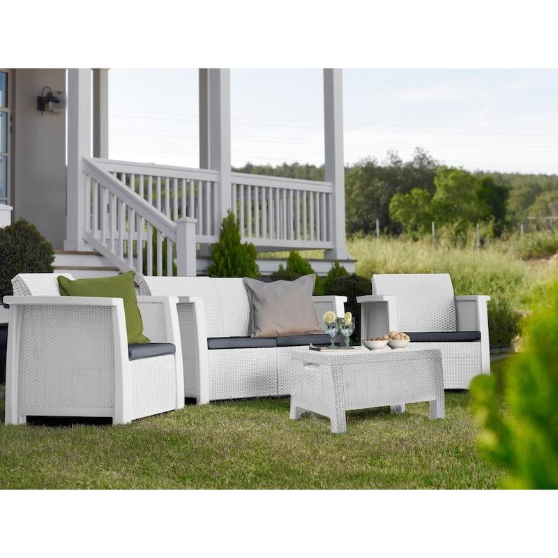 DETTAGLI: Set da giardino dal design ergonomico in polyrattan composto da un tavolino, un ...