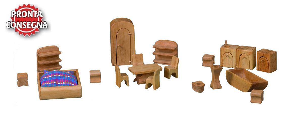 Mobili kit per la casa delle bambole con balcone 19 pezzi - Mobili per la casa ...