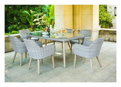 Set pranzo da giardino ANNI 60 SET EDENET in Alluminio Grigio Tavolo cm 180x100 e 6 Poltrone