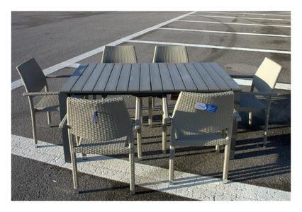 Tavolo da giardino IMMENSO ALLUNGABILE 240 cm x 90 con 6 comode poltrone colore Grigio